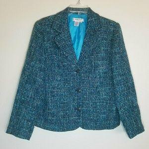 Coldwater Creek Blazer Wool Tweed Teal Size PM